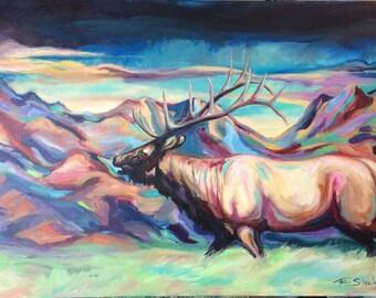 Fall elk wildlife colorful contemporary western art