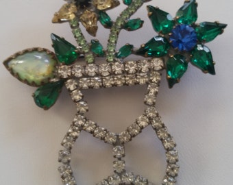 Wonderfully Vased In Rhinestones Blooming Flower Brooch ~ Beautiful Unique Vintage Jewelry