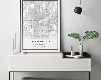 Oklahoma City map print | Scandinavian wall art poster | City maps Artwork | Oklahoma gifts | Poster Bedroom | M27