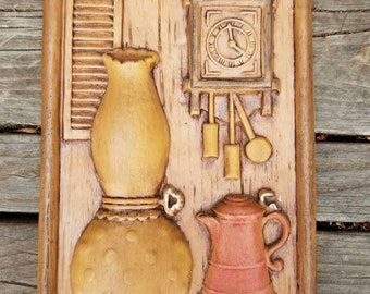 1970's Wall Art Featuring Pitcher and Clock