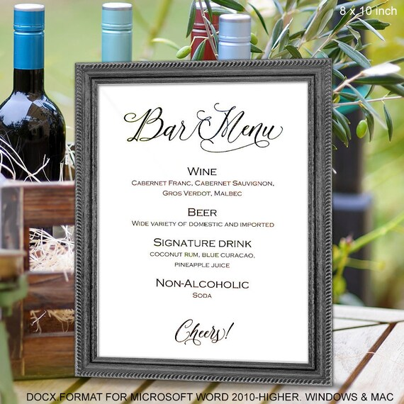 bar menu sign printable bar menu wedding signs template. Black Bedroom Furniture Sets. Home Design Ideas