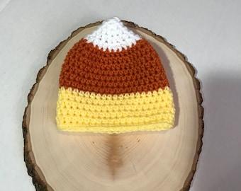 Candy corn hat- newborn photo prop- Halloween hat- fall hat- ready to ship