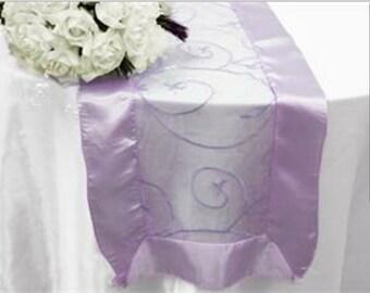 Lavender table runner, satin embroidered table runner,