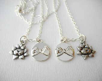 2 Pinky Promise, Lotus- Best Friend Necklaces/ party favors, for Girl, daughter gift, Sister, Birthday Gift, gifts for her