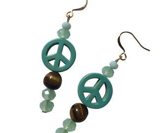 Blue Howlite Peace Glass Bead Tiger Eye Gemstone Matte Bead Silver Earrings