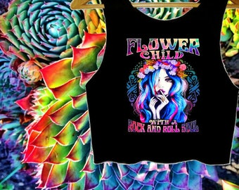 Flower Child with a Rock and Roll Soul Crop Top