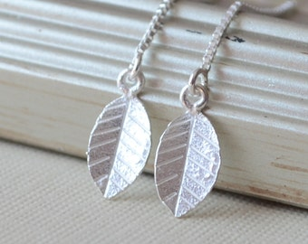 Sterling Silver Earrings, Delicate Box Chain Threaders, Earring Strings, Tiny Leaf, Dainty Simple Jewelry