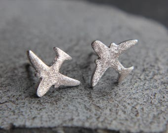 Airplane earrings made of sterling silver earrings
