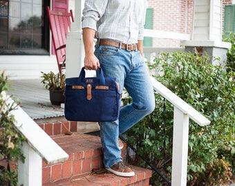 Monogrammed Messenger Bag | Lap Top Bag | Mens Briefcase | Canvas Messenger Bag | Gifts for Travelers | Personalized Gift for Men | Keaton