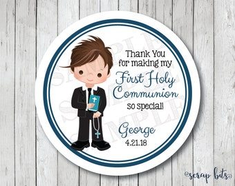 First Communion Stickers, Personalized First Holy Communion Favor Tags or Labels, Communion Thank You Stickers
