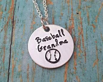 Baseball Grandma Necklace - Baseball - Ball Grandma - Sports - Sports Jewelry - Softball - Women's Jewelry - Baseball Fan - Team Sports