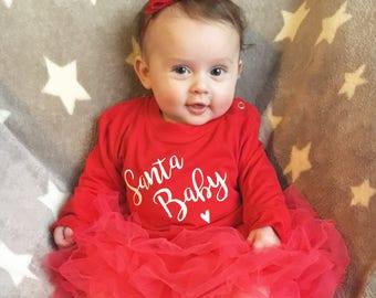 Santa Baby T-shirt - Baby Christmas T-shirt - Baby Christmas Top - Red Christmas Outfit - Baby Christmas Outfit - Toddler Christmas T-shirt