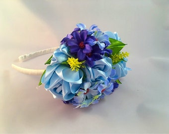 Blue floral Alice band , hair band