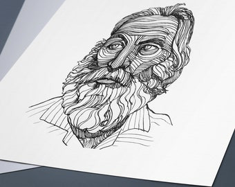 Line Art Portrait : Line art portrait etsy