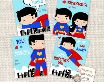 Superhero Valentines, Valentines for boys, Superhero cards, DIY Valentines for kids, Printable school valentines, personalization extra