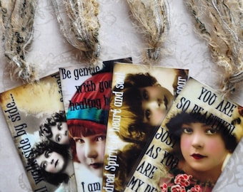 HEALING HOPE TAG Set A four vintage collage girls inspirational gift bookmark