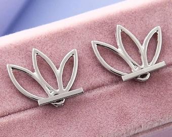 Minimalist Lotus Flower Jacket Earrings