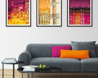 Any THREE Prints - Save 25%,Set of three Illustrations,Illustration Fine art Giclee print Home decor Wall art Living room decor Gift ideas