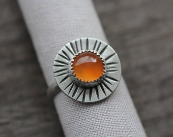 bright orange carnelian ring. autumn gemstone ring. sterling silver jewelry. sun ring. natural gem. smooth band. (lady of October. ring)