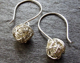 SILVER Tumbleweed Yarn Ball Earrings - Dangly, Woven from Fine Silver Wire on Handmade Sterling Silver Ear Wires
