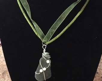 Deep Green Seaglass pendant
