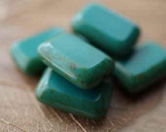 Persian Turquoise, Rectangle Beads, Czech Beads, Beads,28-5