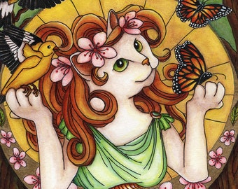 White Cat, Monarch Butterfly, Art Nouveau 11x14 Fine Art Reproduction Print