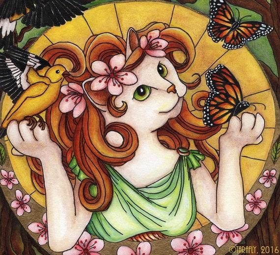 Spring Cat Art Nouveau 11x14 Fine Art Print