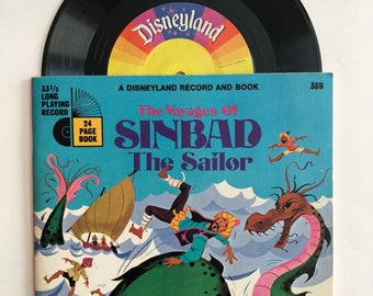 "The Voyages of Sinbad the Sailor 1971 Story Book and Record Set - Disneyland Records 24 Page Book, 7"" Record"