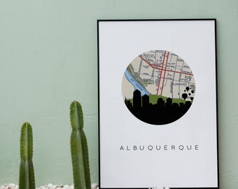 Albuquerque New Mexico gifts | Albuquerque map art print | Albuquerque prints | Albuquerque wall art | New Mexico art print