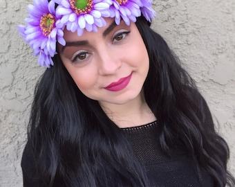 Gerbera Daisy Headband - Purple Blue Pink Flower Headband - Purple Daisies - Flower Crown - Festivals - Raves - Bachelorette Party