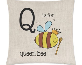 Letter Q Is For Queen Bee Linen Cushion Cover