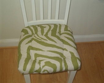 Tufted chair pad, seat cushion, olive green on linen, animal print, zebra cotton