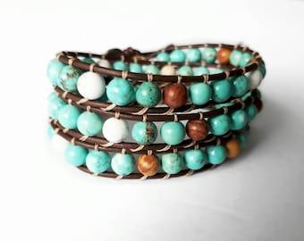 Turquoise bracelet, wrap bracelet, leather wrap, bohemian wrap bracelet, turquoise gemstones, triple wrap with turquoise, jasper, howlite