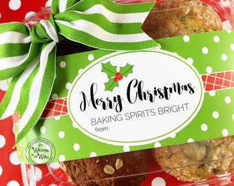 Christmas Food Gift Tags / Christmas Neighbor Gifts / Friends and Family /You've Been Jingled / Teacher Gift / Baking Spirits Bright