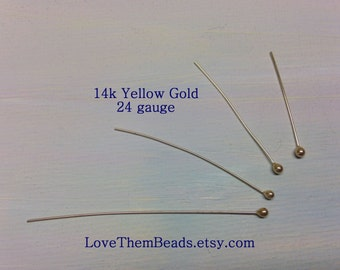 14K yellow gold ball head pins 24 gauge large head ball end tip beading pins headpins length made to order real solid 14k gold findings