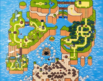 Nintendo game map etsy super mario world map high res print of original acrylic painting gumiabroncs Gallery