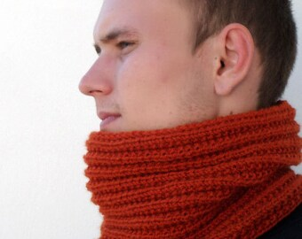 Chunky scarf for men. Terracotta Snood. Infinity scarf. Chunky Knit Scarf. Men's Knit Circle Scarf. Knit Cowl Scarf. Mens Cowl Scarf.