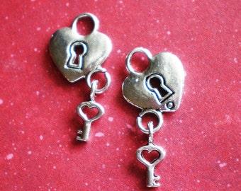 6 silver heart lock key charms 18mm 26mm  BCX DD2