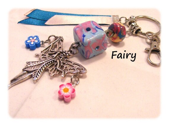 Bag charm fimo fairy Keychain, fairy, OOAK DollyDoo, accessory bag, handmade, gift MOM, fairy, Elf, Pixie, magic