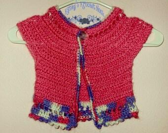 Girls Crochet Bolero Sweater Shrug Clothing Pink Purple