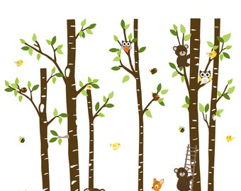 Nursery wall decal branch with red birds,swing,white wall decal sticker