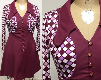 Vintage 1960's Maroon Empire Waist Mod mini Dress XS S