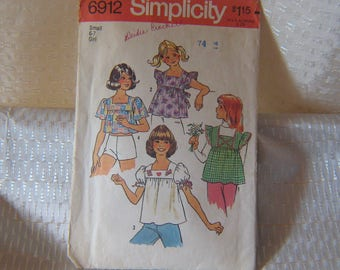 SEWING PATTERN: Simplicity Childs Blouse Pattern 6912; circa 1975