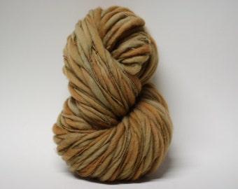 Merino Thick and Thin Hand Spun Wool Yarn Slub  Hand Dyed tts(tm) Bulky Toffee 03