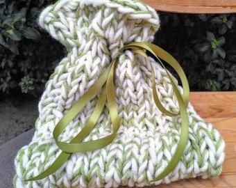 Hand-knitted Drawstring Keepsake Bag in Green & White Yarns
