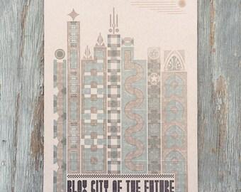 Blox City of the Future Letterpress Poster