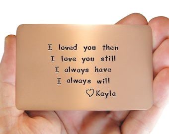 Anniversary, gift idea, anniversary card, gift husband, copper wallet insert, wallet insert card, love reminder card, hand engraved