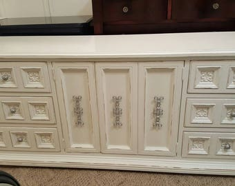 Distressed Credenza Dresser long dresser 9 drawer dressers