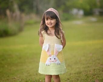 Crochet Bunny Dress Pattern, Easter Crochet Sundress Pattern, Girls Crochet Dress Pattern, Spring Dress Crochet Pattern - 12 mos - Size 10
